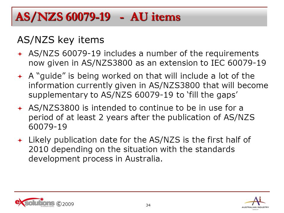 AS/NZS 60079-19 - AU items AS/NZS key items