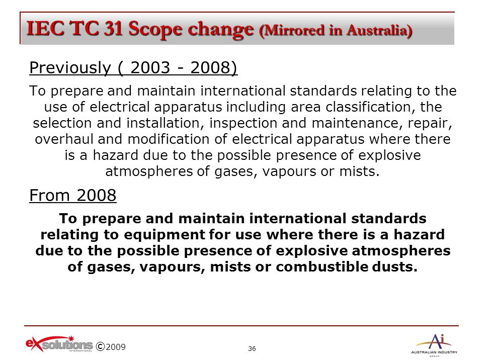 IEC TC 31 Scope change (Mirrored in Australia)