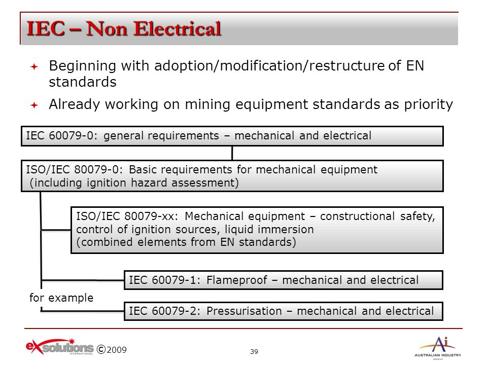 IEC – Non Electrical Beginning with adoption/modification/restructure of EN standards. Already working on mining equipment standards as priority.