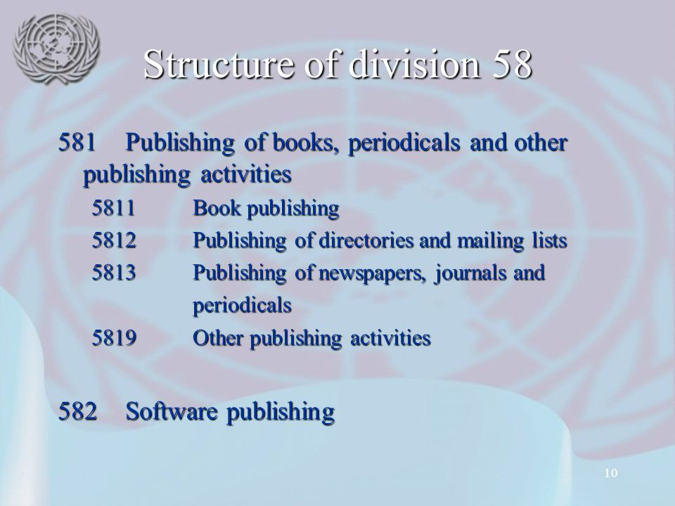 Structure of division 58 581 Publishing of books, periodicals and other publishing activities. 5811 Book publishing.