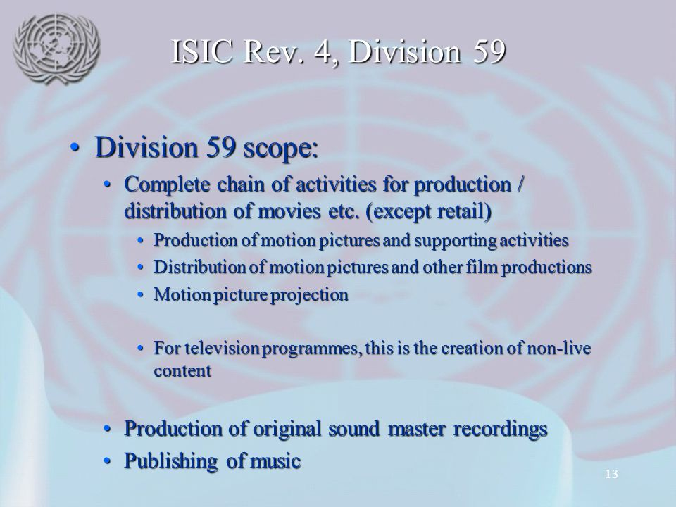 ISIC Rev. 4, Division 59 Division 59 scope:
