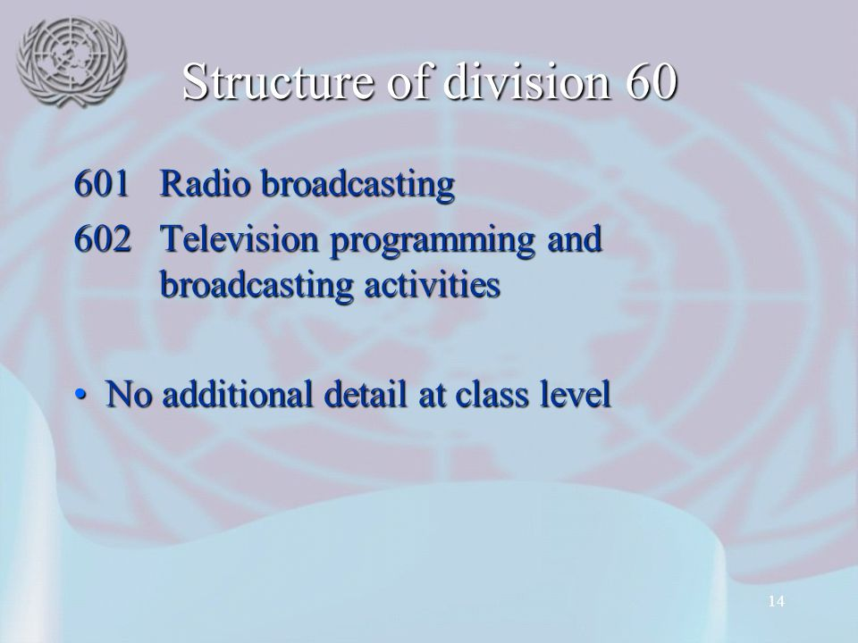 Structure of division 60 601 Radio broadcasting