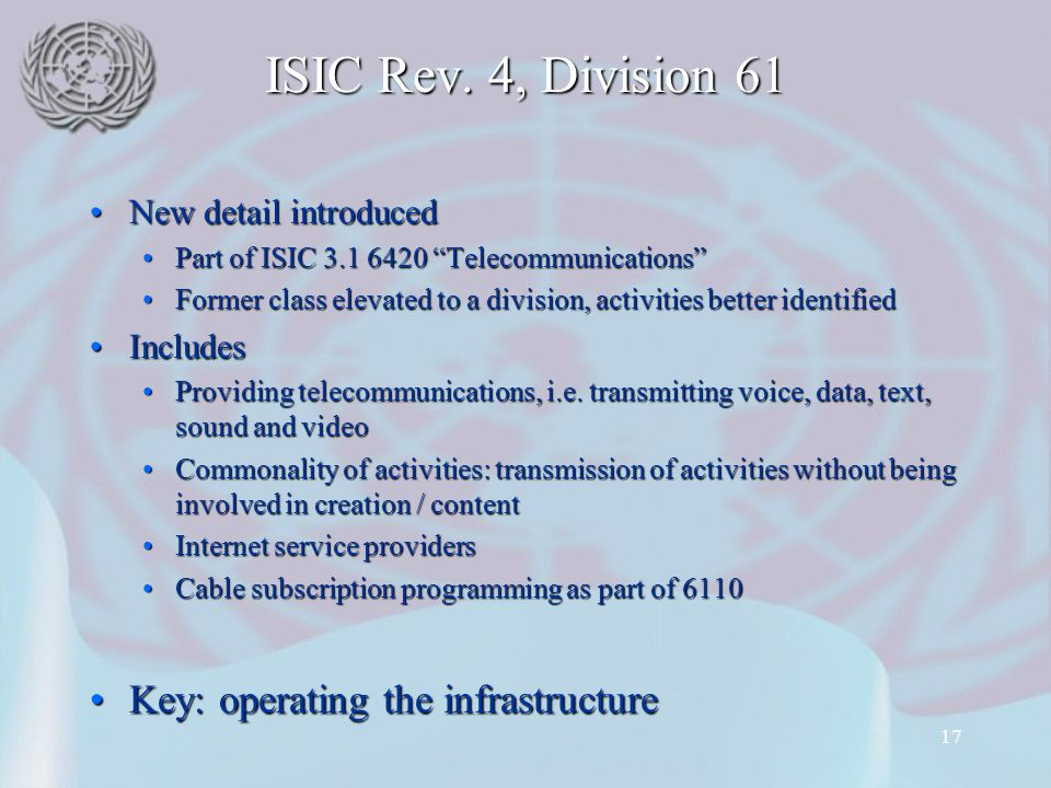 ISIC Rev. 4, Division 61 Key: operating the infrastructure