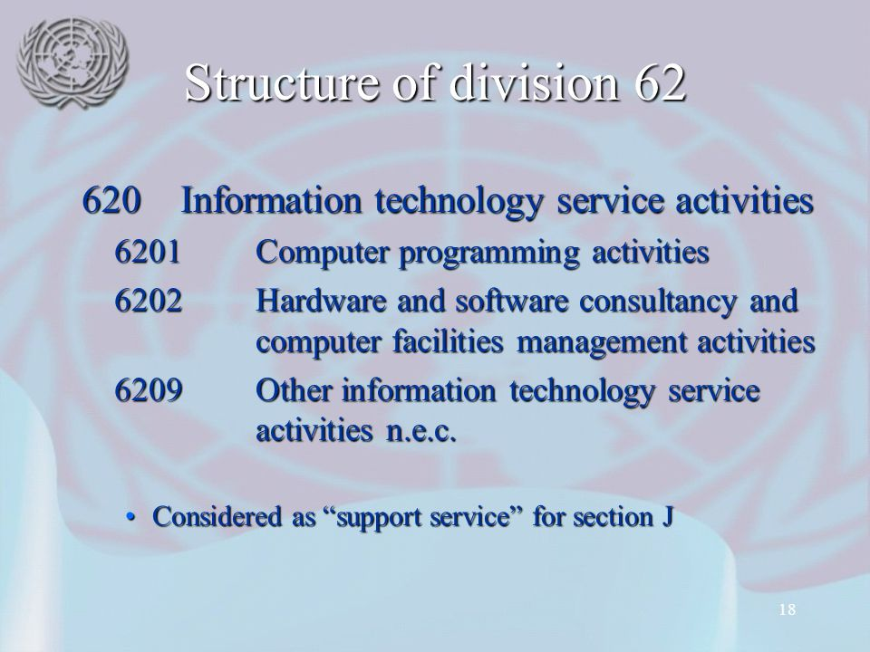 Structure of division 62 620 Information technology service activities