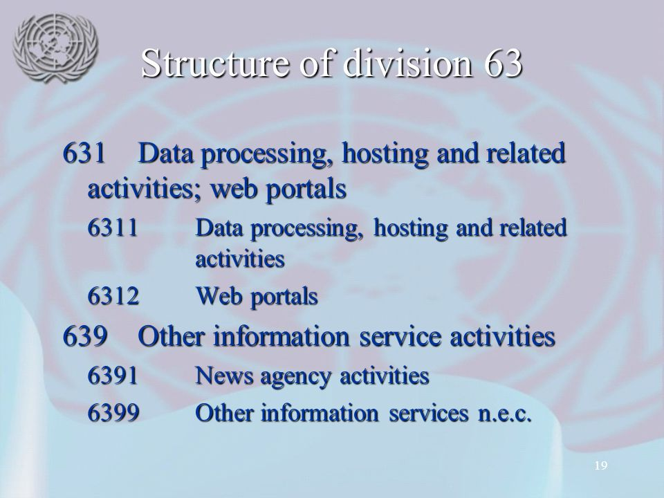 Structure of division 63 631 Data processing, hosting and related activities; web portals. 6311 Data processing, hosting and related activities.