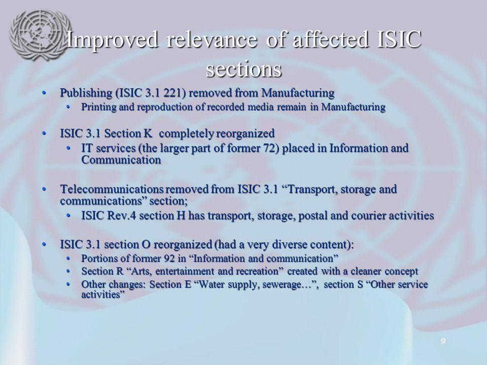 Improved relevance of affected ISIC sections