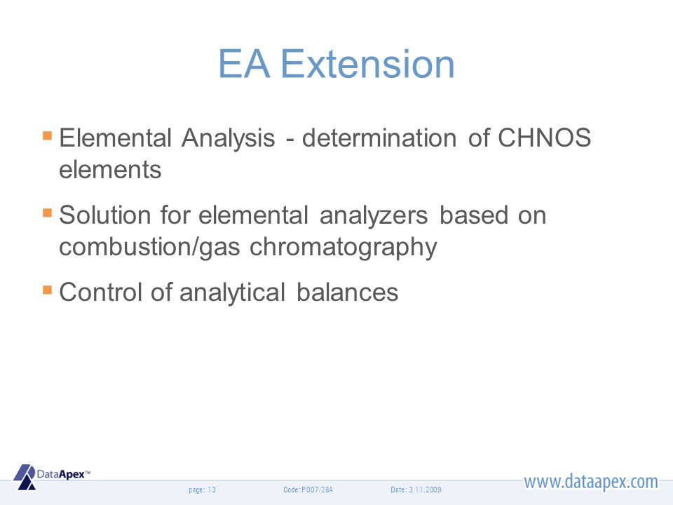 EA Extension Elemental Analysis - determination of CHNOS elements