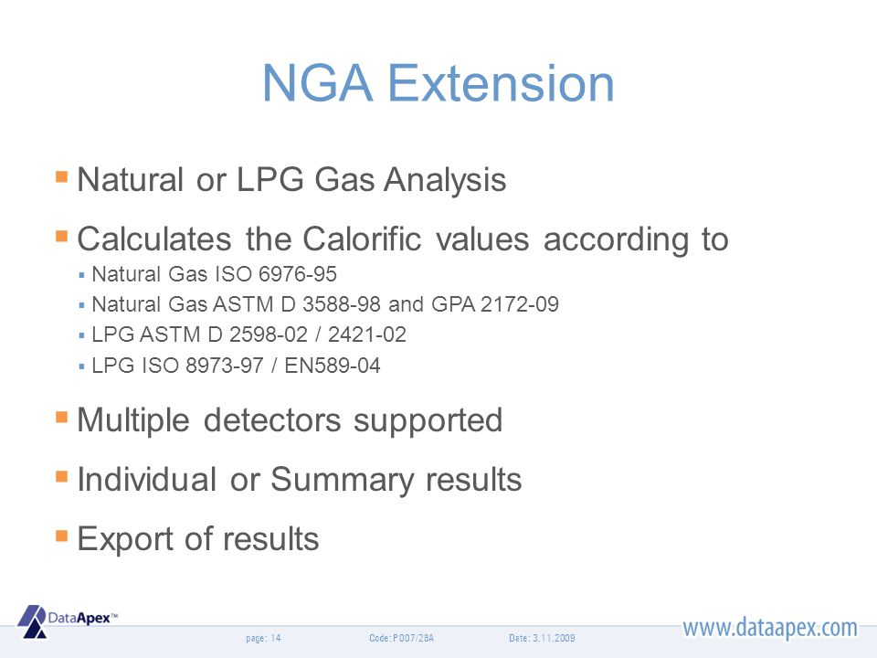 NGA Extension Natural or LPG Gas Analysis