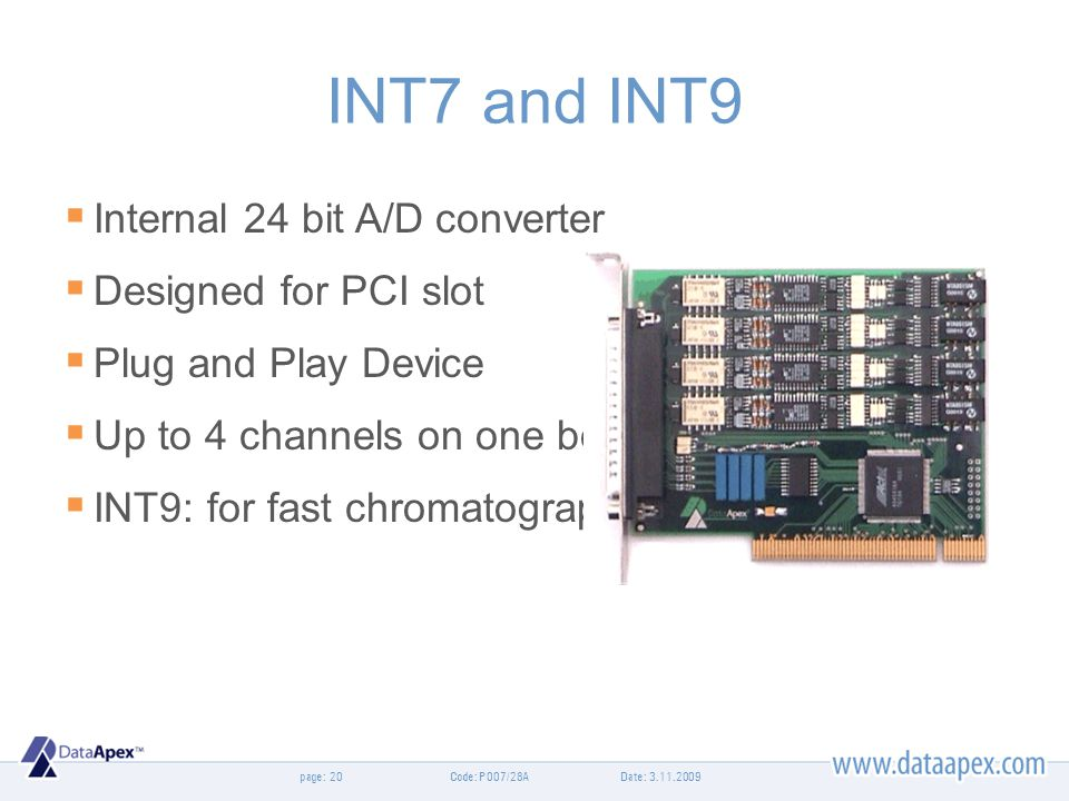 INT7 and INT9 Internal 24 bit A/D converter Designed for PCI slot