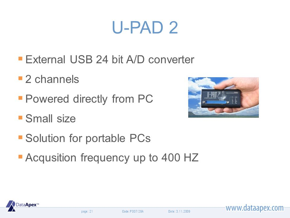 U-PAD 2 External USB 24 bit A/D converter 2 channels