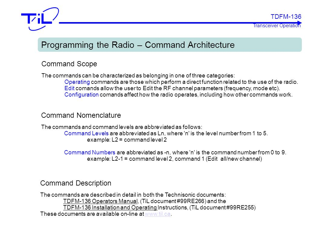 Programming the Radio – Command Architecture