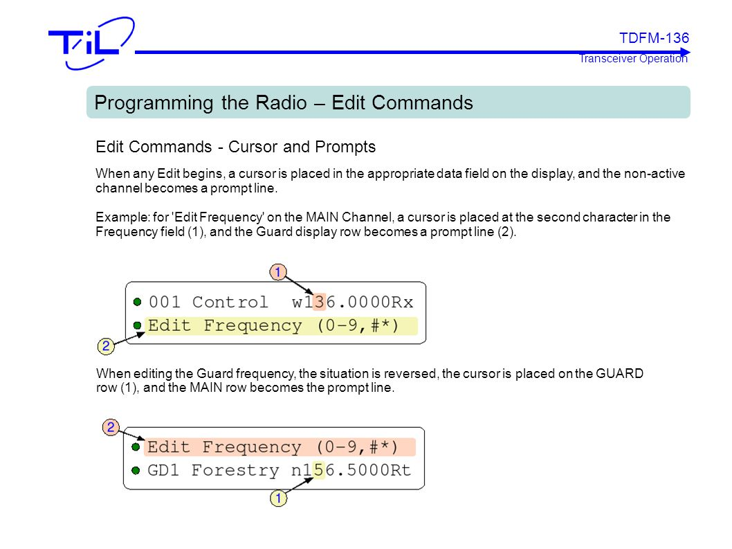 Programming the Radio – Edit Commands
