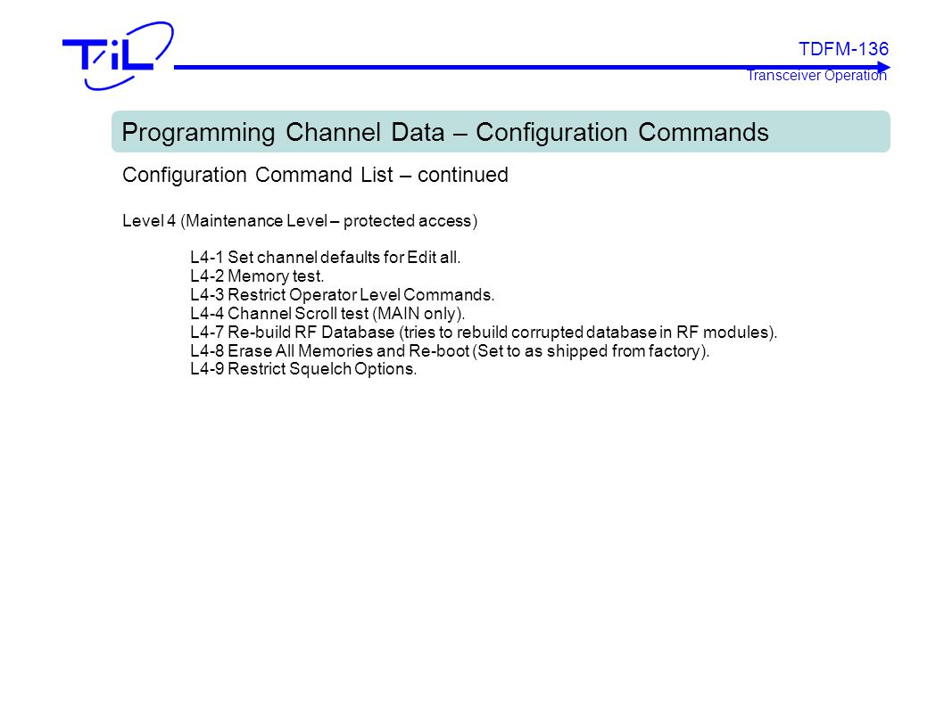 Programming Channel Data – Configuration Commands