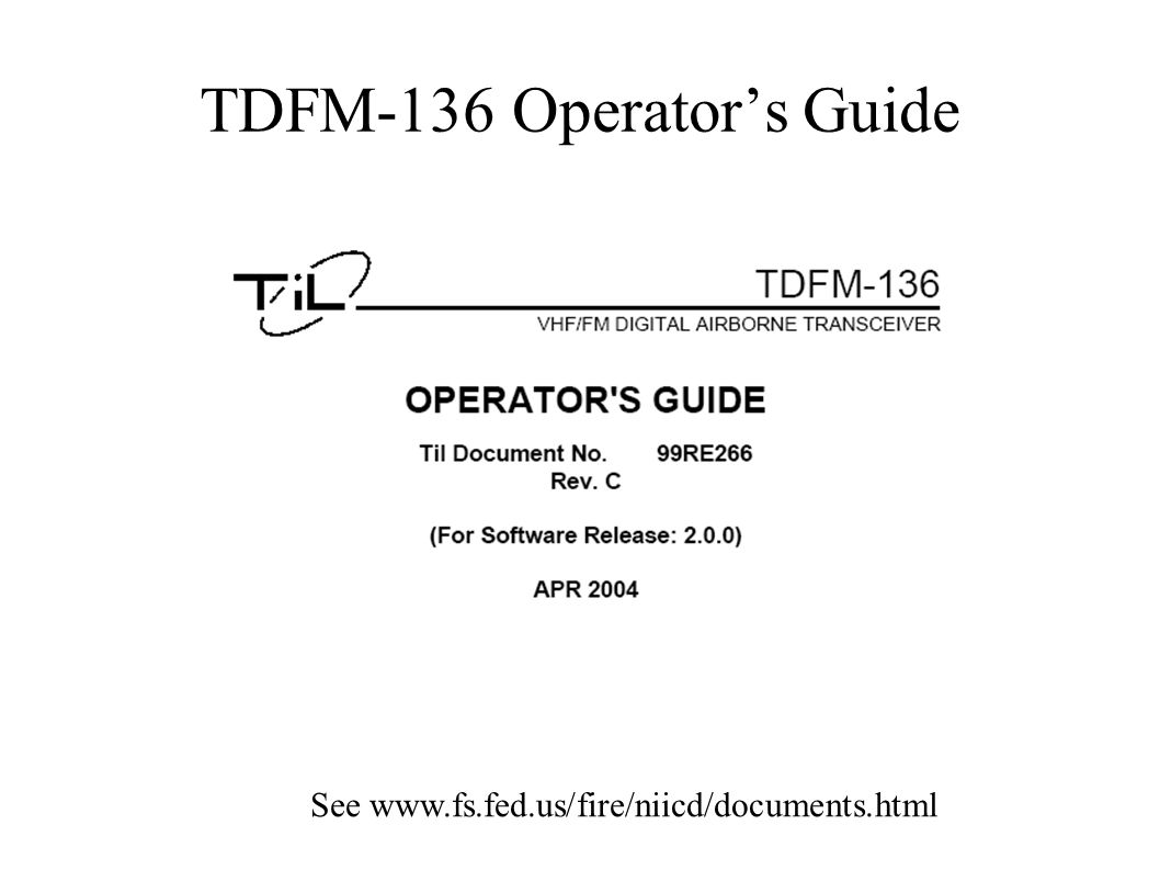 TDFM-136 Operator's Guide