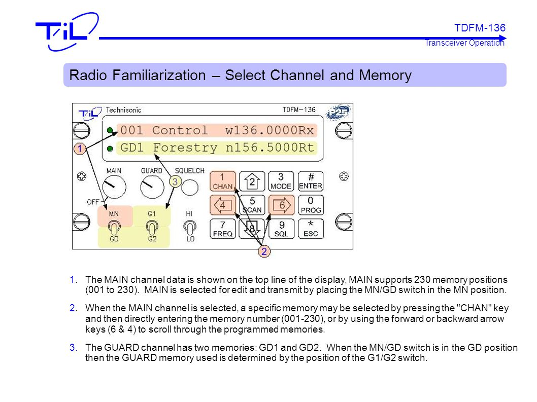 Radio Familiarization – Select Channel and Memory