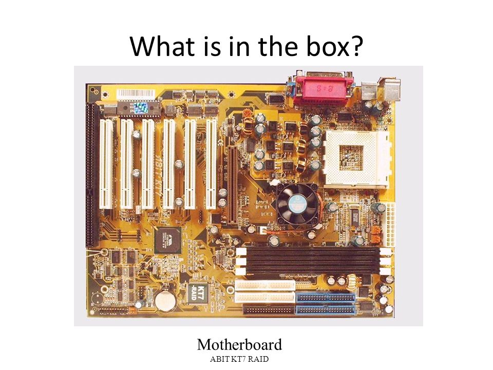 What is in the box Motherboard ABIT KT7 RAID
