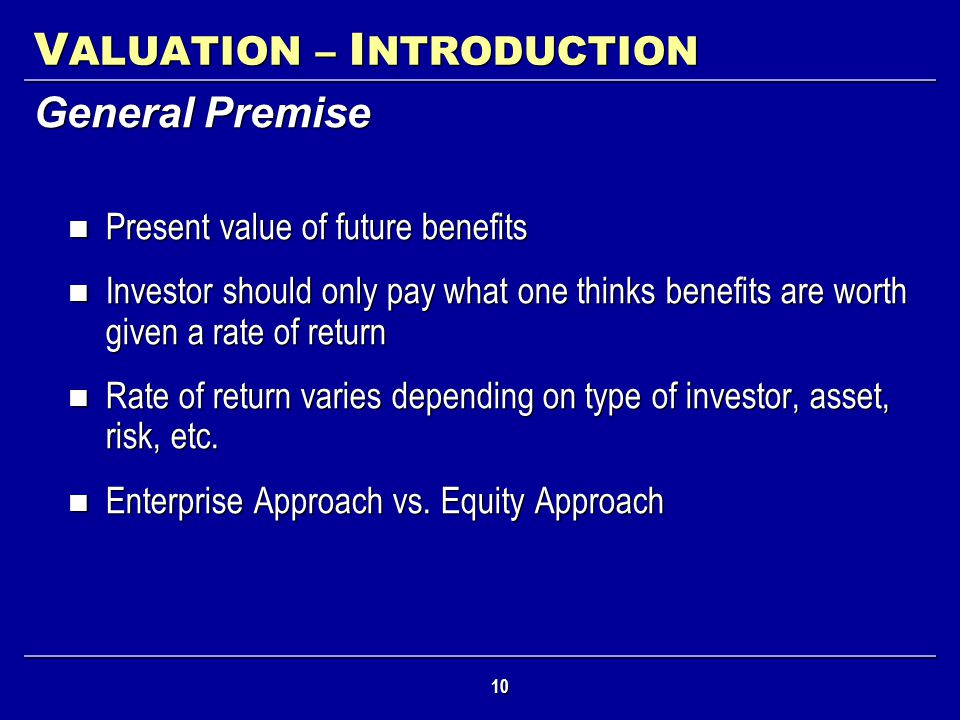 VALUATION – INTRODUCTION
