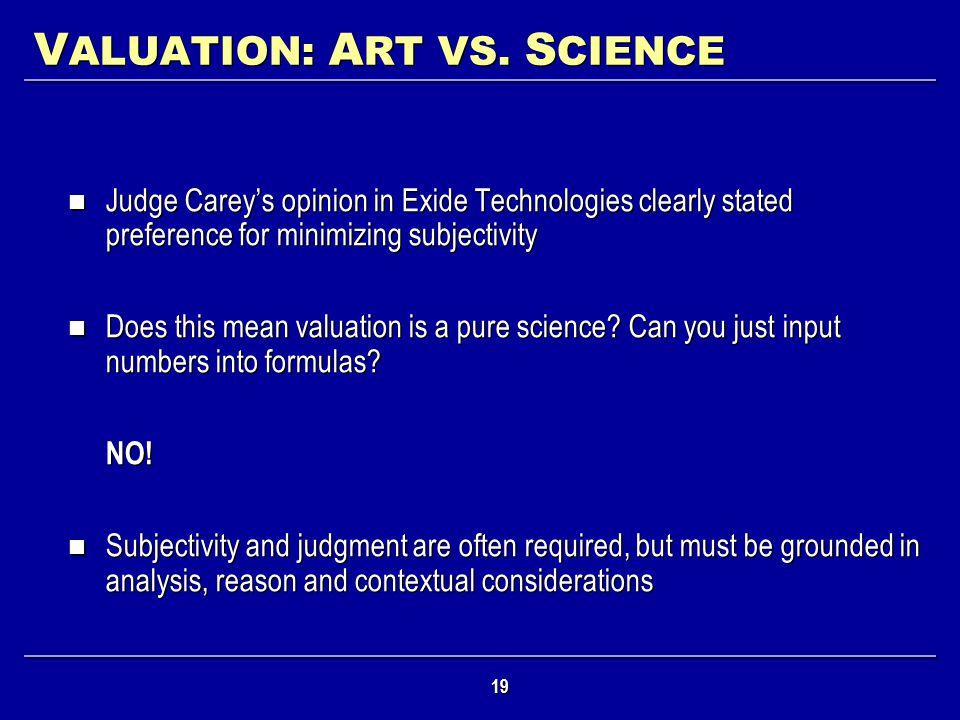 VALUATION: ART VS. SCIENCE