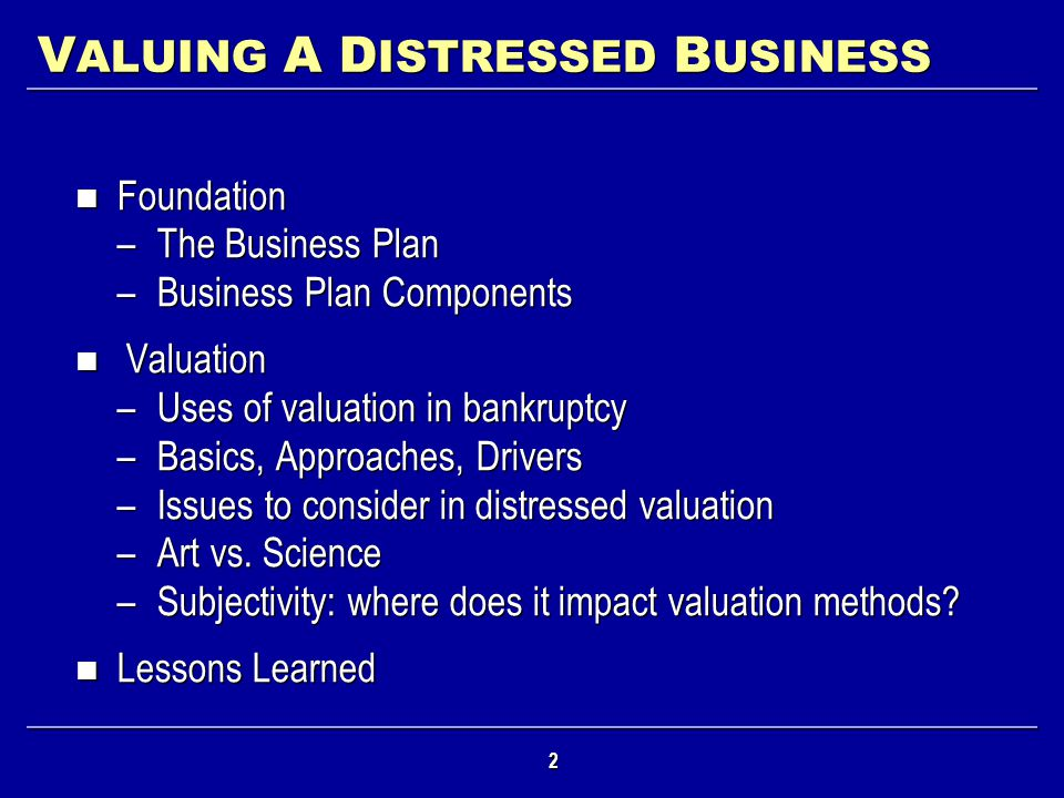 VALUING A DISTRESSED BUSINESS
