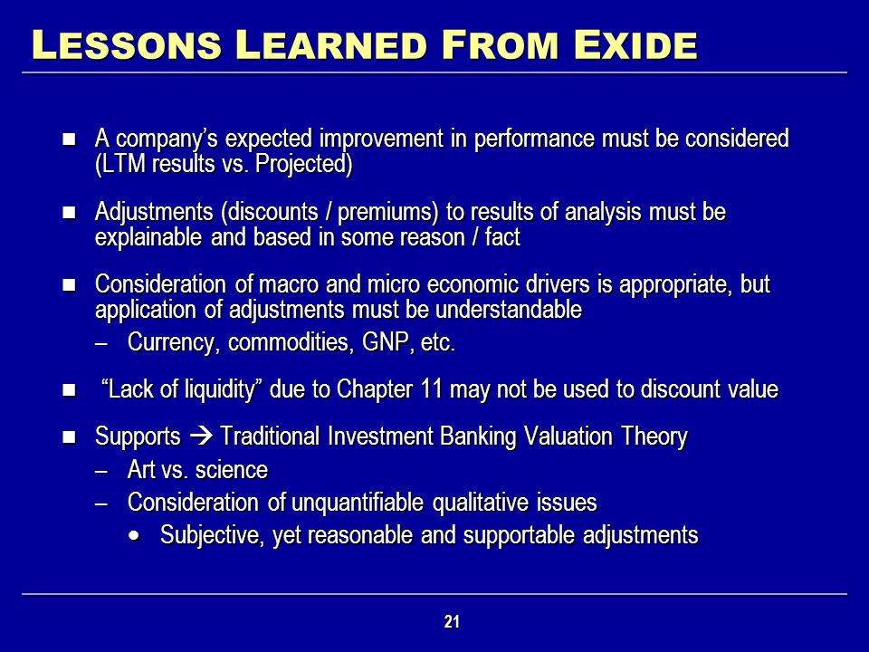LESSONS LEARNED FROM EXIDE
