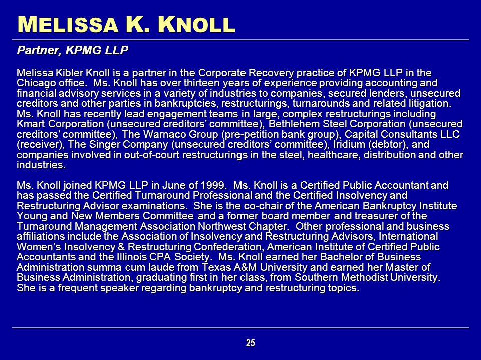 MELISSA K. KNOLL Partner, KPMG LLP