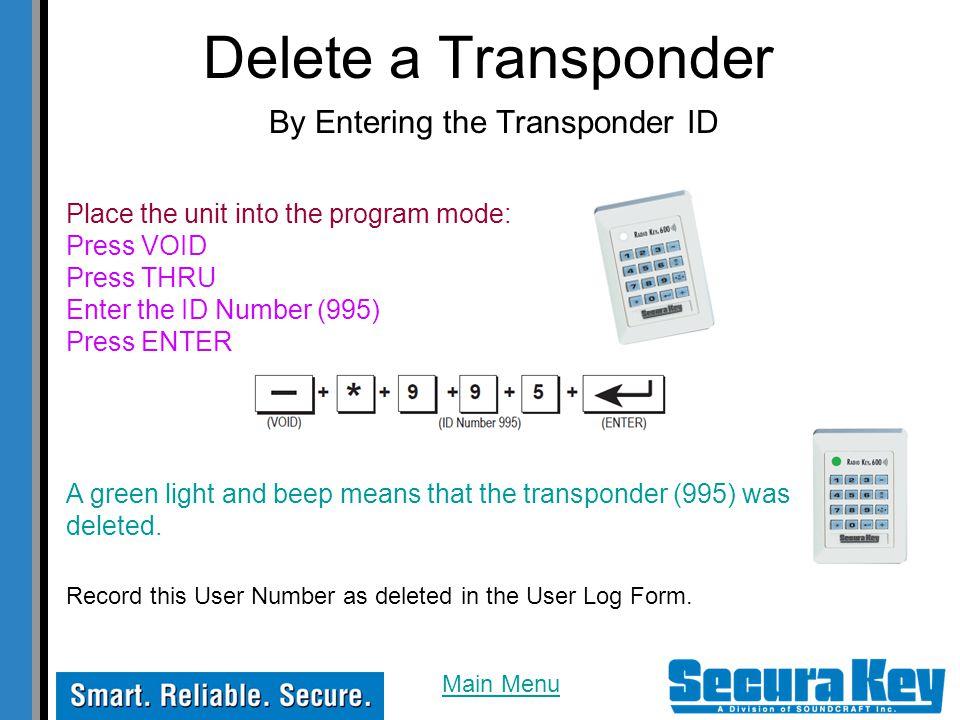Delete a Transponder By Entering the Transponder ID