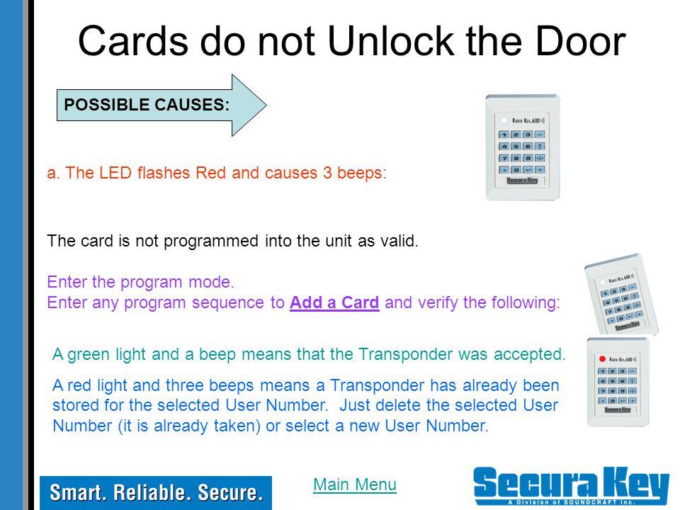 Cards do not Unlock the Door