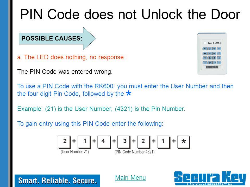 PIN Code does not Unlock the Door