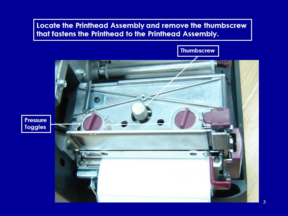 Locate the Printhead Assembly and remove the thumbscrew that fastens the Printhead to the Printhead Assembly.