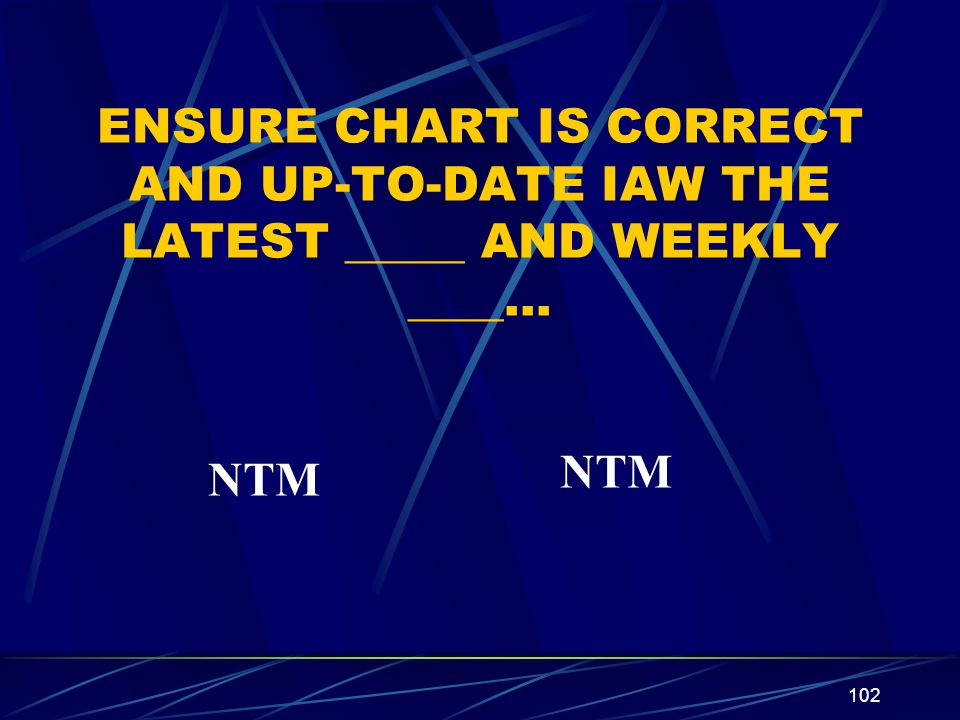 ENSURE CHART IS CORRECT AND UP-TO-DATE IAW THE LATEST _____ AND WEEKLY ____…