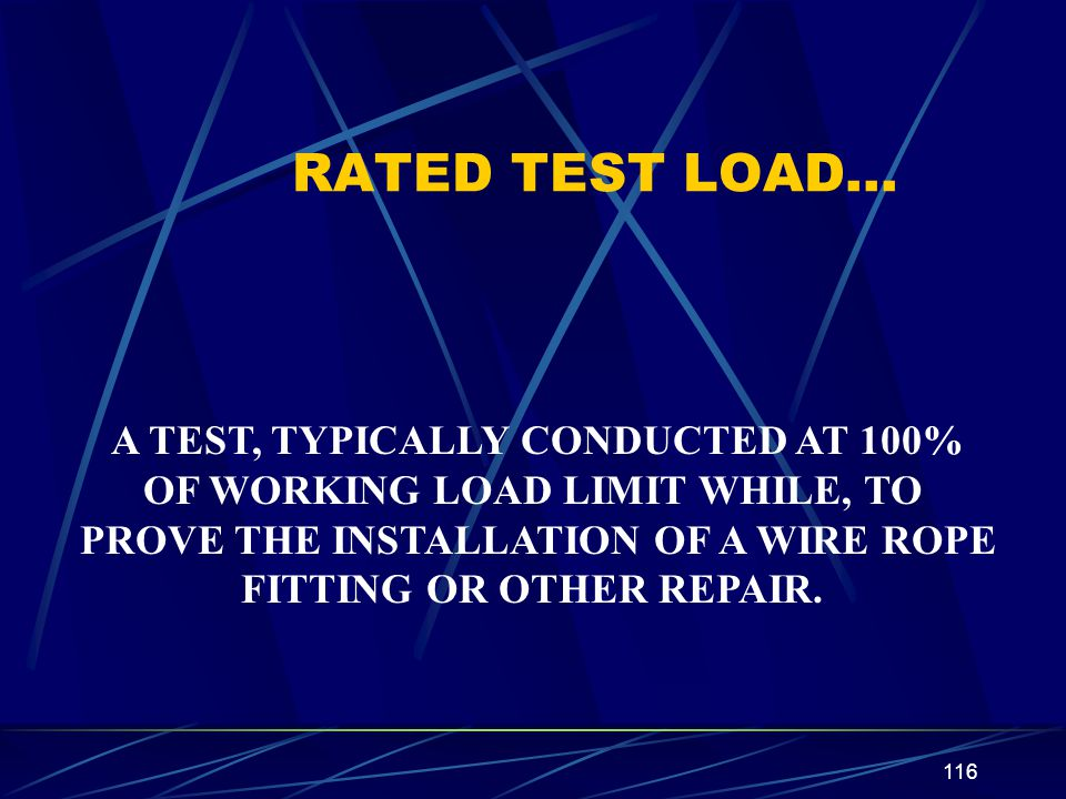 RATED TEST LOAD… A TEST, TYPICALLY CONDUCTED AT 100%