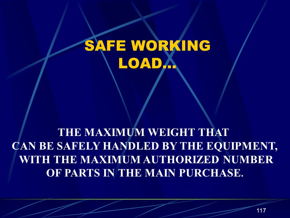 SAFE WORKING LOAD… THE MAXIMUM WEIGHT THAT