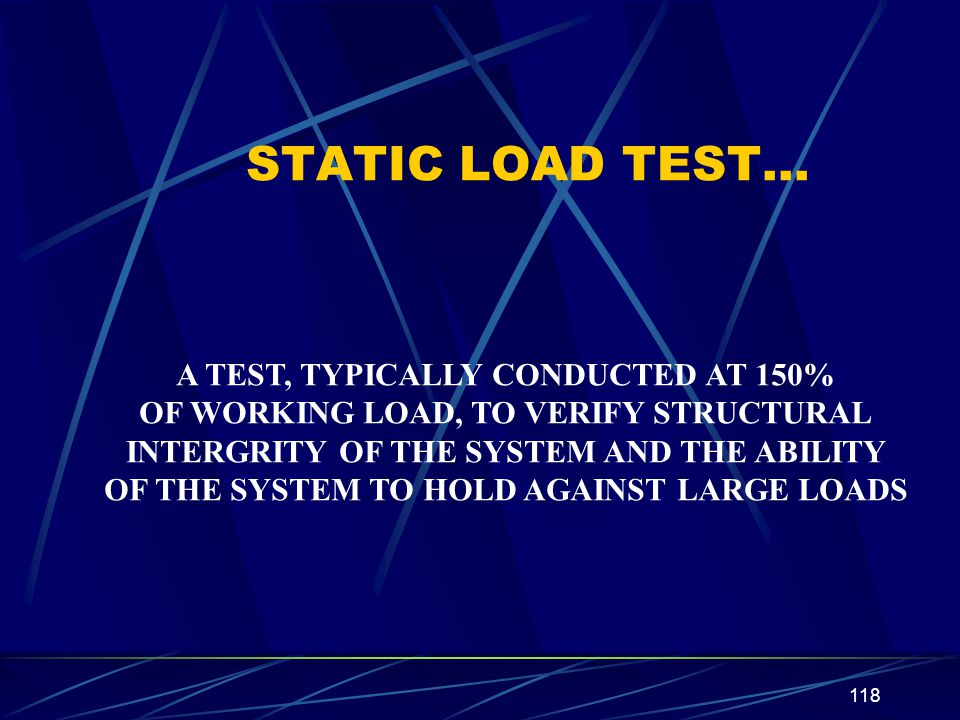 STATIC LOAD TEST… A TEST, TYPICALLY CONDUCTED AT 150%