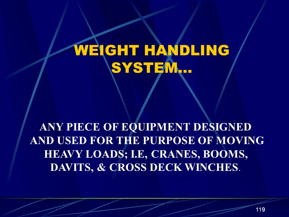 WEIGHT HANDLING SYSTEM…