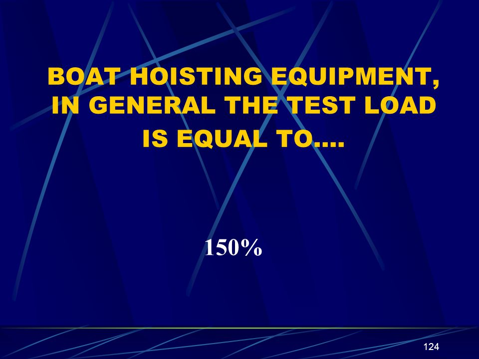 BOAT HOISTING EQUIPMENT, IN GENERAL THE TEST LOAD IS EQUAL TO….