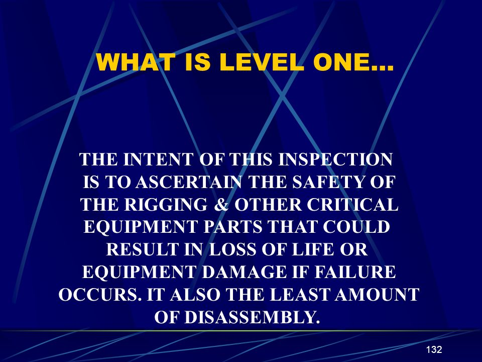 WHAT IS LEVEL ONE… THE INTENT OF THIS INSPECTION
