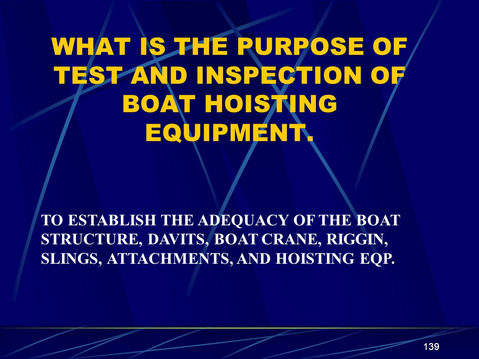 WHAT IS THE PURPOSE OF TEST AND INSPECTION OF BOAT HOISTING EQUIPMENT.