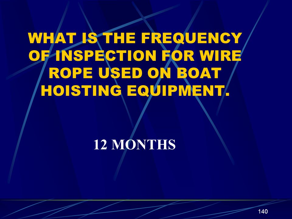 WHAT IS THE FREQUENCY OF INSPECTION FOR WIRE ROPE USED ON BOAT HOISTING EQUIPMENT.