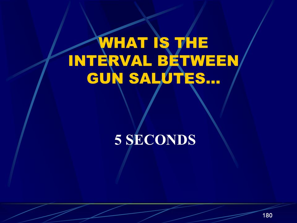WHAT IS THE INTERVAL BETWEEN GUN SALUTES…