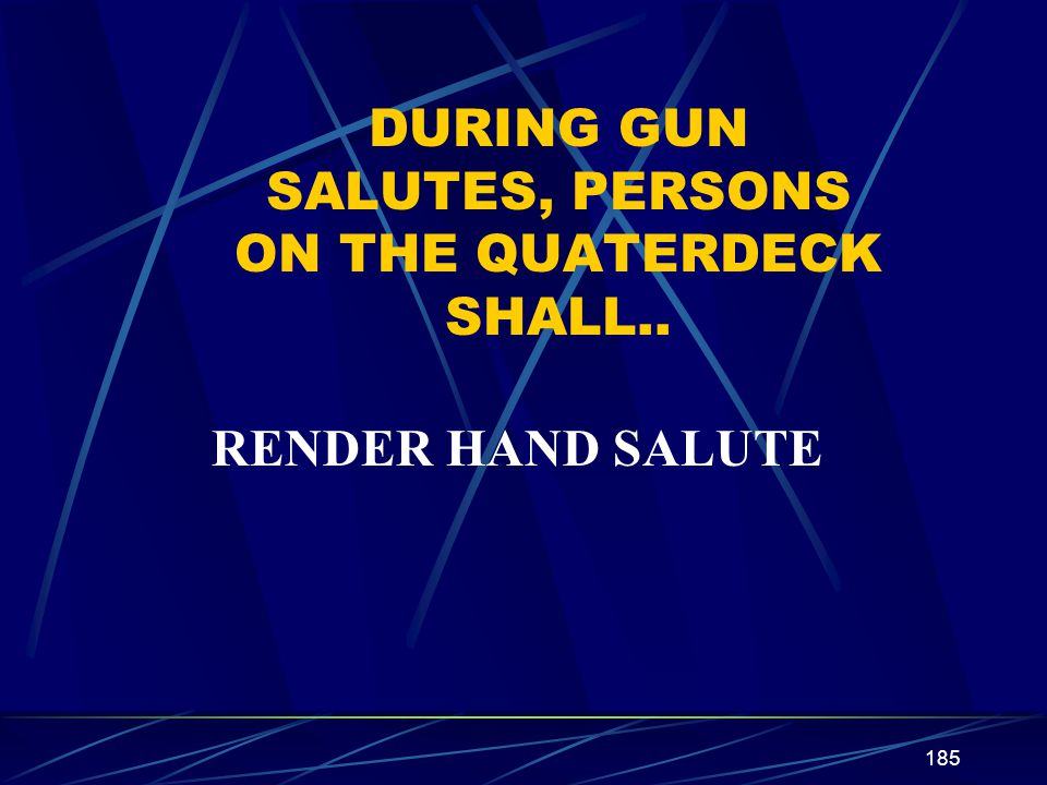 DURING GUN SALUTES, PERSONS ON THE QUATERDECK SHALL..