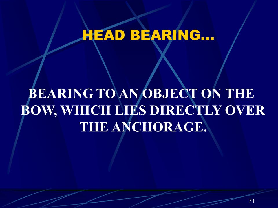 BEARING TO AN OBJECT ON THE BOW, WHICH LIES DIRECTLY OVER