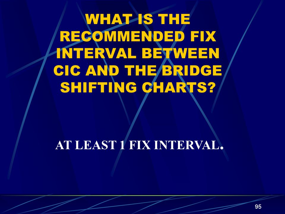 WHAT IS THE RECOMMENDED FIX INTERVAL BETWEEN CIC AND THE BRIDGE SHIFTING CHARTS
