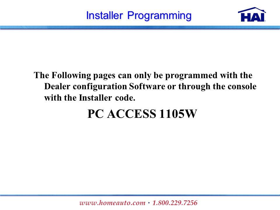 Installer Programming