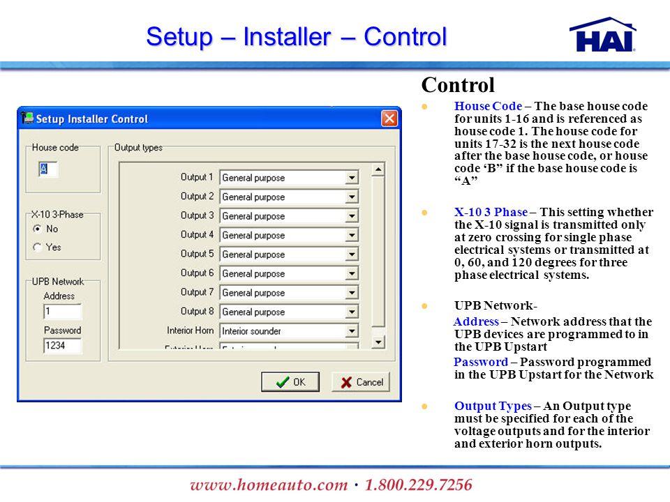 Setup – Installer – Control
