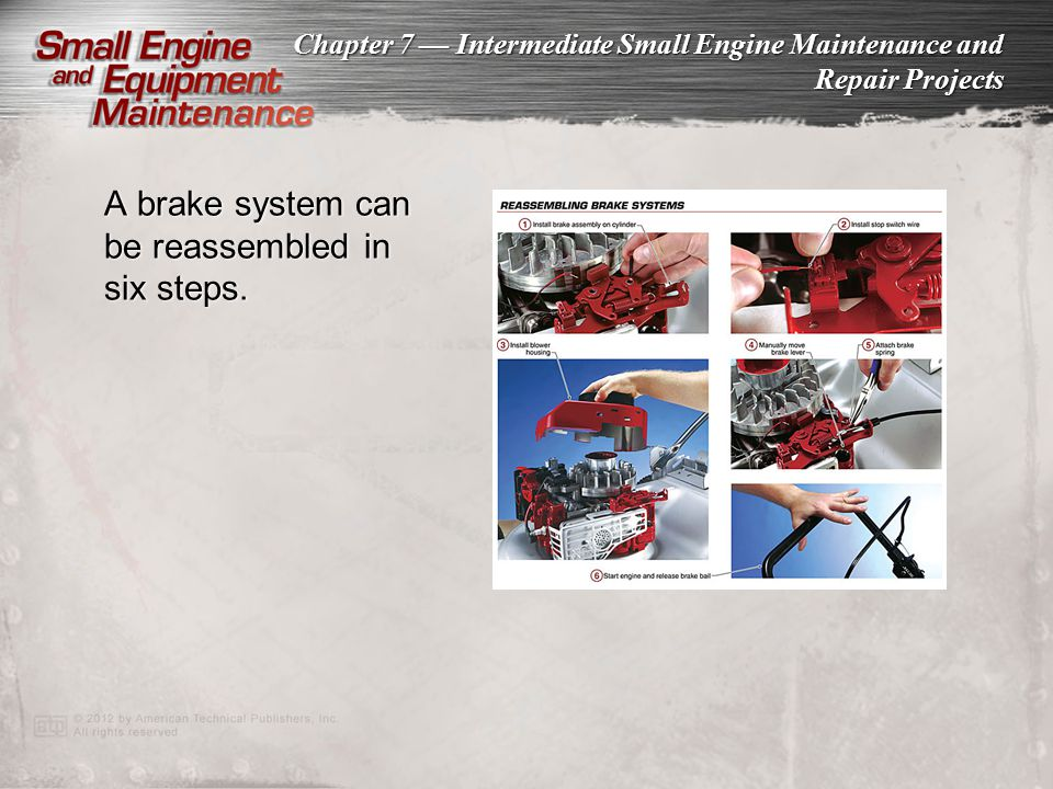 A brake system can be reassembled in six steps.
