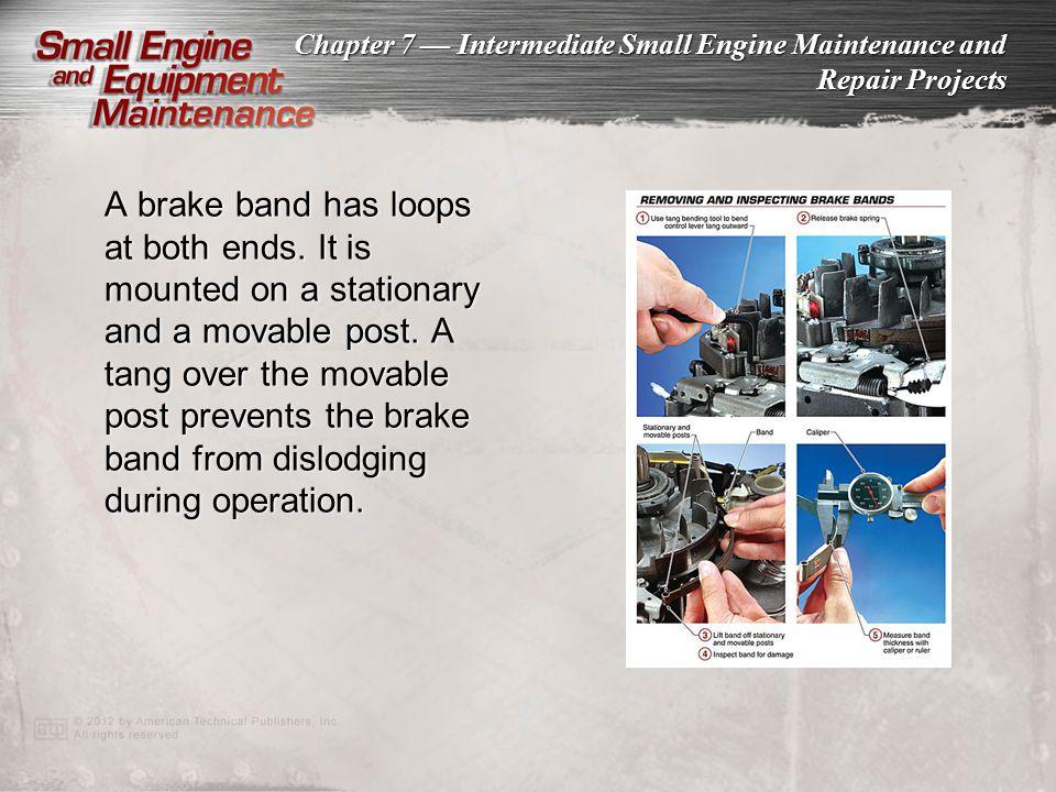 A brake band has loops at both ends