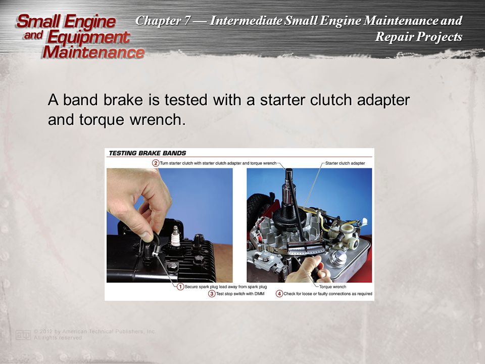 A band brake is tested with a starter clutch adapter and torque wrench.