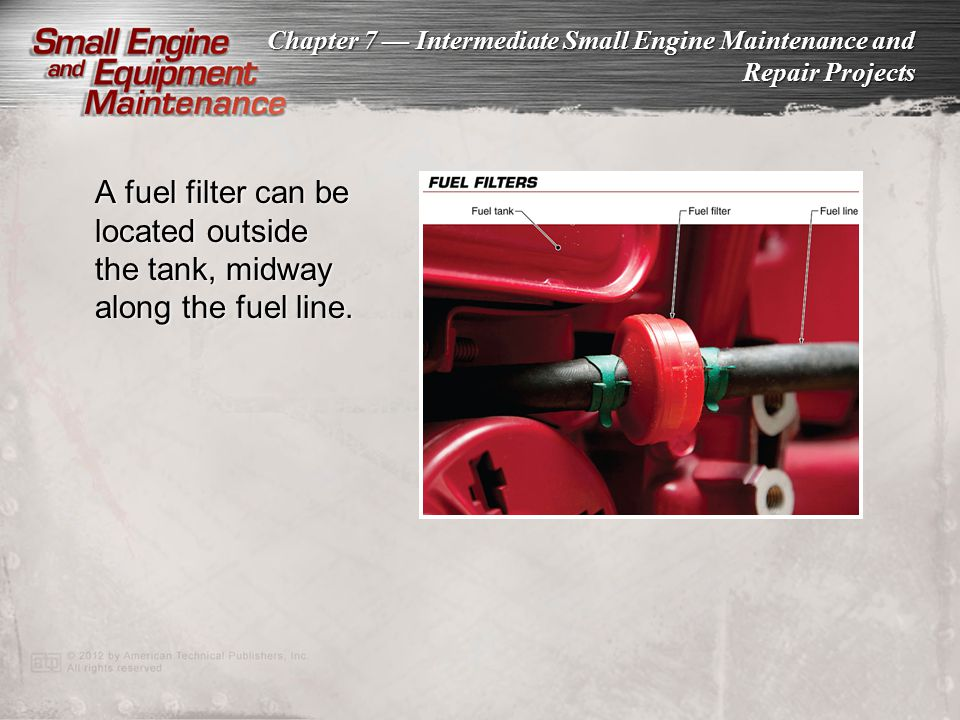 A fuel filter can be located outside the tank, midway along the fuel line.