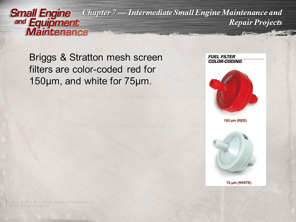 Briggs & Stratton mesh screen filters are color-coded red for 150µm, and white for 75µm.