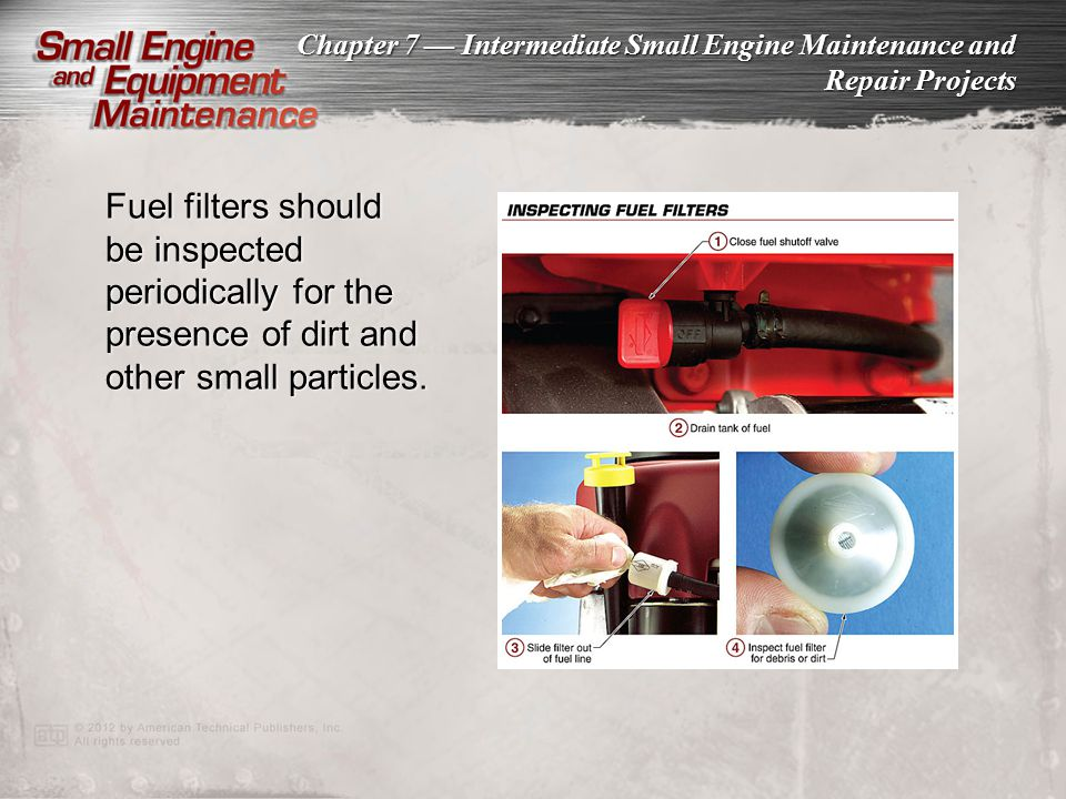 Fuel filters should be inspected periodically for the presence of dirt and other small particles.